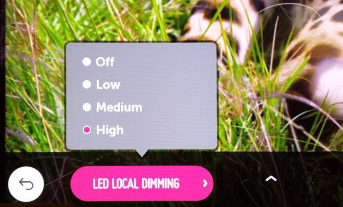 LG local dimming settings